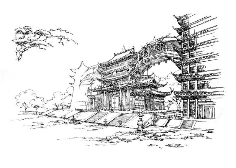 黑白 风景 玩家原创/玩家原创剑网3钢笔画风景
