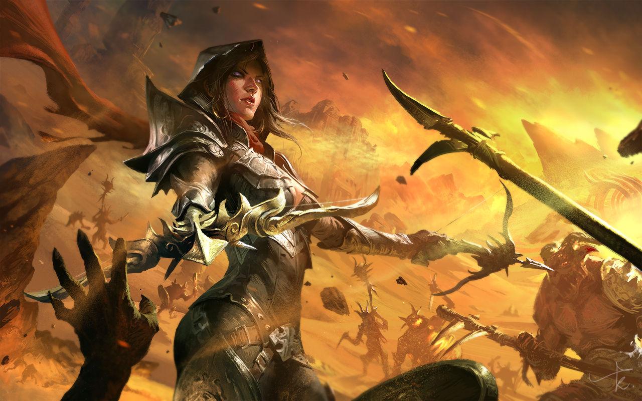 玩家作品:以一敌百 暗黑3女猎魔人壁纸