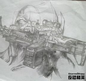绝对是真爱 13岁玩家手绘CSOL武器