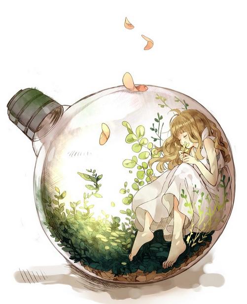 瓶子里的美少女插画欣赏