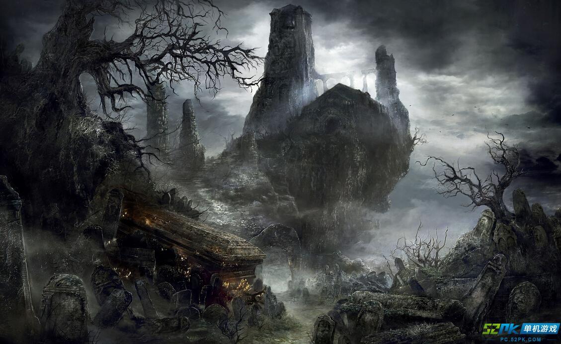 黑暗之魂3艺术截图鉴赏 废墟恶龙火袭黑色古堡