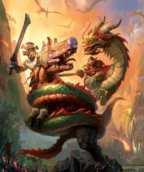 熊猫人与翔龙一起与赞达拉巨魔战斗(上面那个不是老陈).