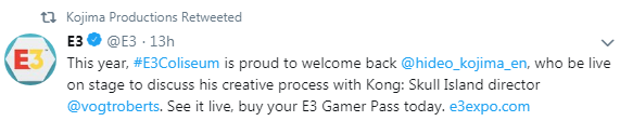 那个男人回来了!小岛秀夫将参加今年E3游戏展