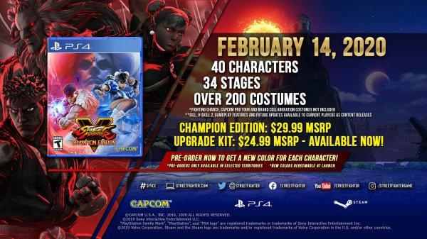 《街霸5:冠军版》明年情人节发售 新角色预告公开