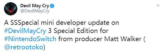《鬼泣3》特别版登陆NS时会有额外内容带给玩家!