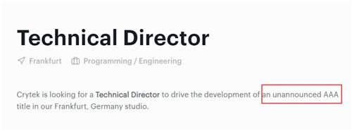 Crytek招聘信息显示他们在开发新3A游戏 会是《孤岛危机4》吗?