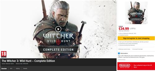 《巫师》开启eShop夏季特卖 《巫师 3》7折入手