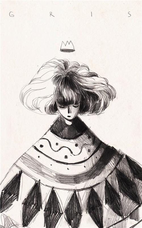 《GRIS》制作人展示游戏铅笔手绘风格概念图
