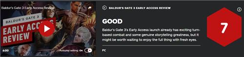 IGN 7分:《博德之门3》抢先体验版不够好 期待完整版