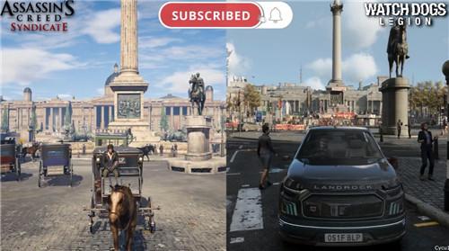 《看门狗:军团》与《刺客信条:枭雄》中的伦敦地表对比