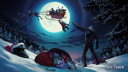 《巫师》官推发圣诞贺图 杰洛特救助圣诞老人