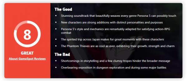 女神异闻录5对决评分出炉 IGN8分 M站均分85