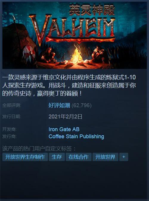 英灵神殿Steam持续爆火 近7W评论中96%是好评